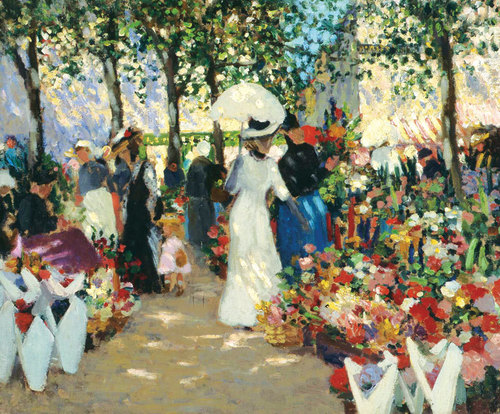 French flower market 1909 image