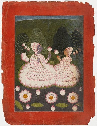 Lotus-clad Radha and Krishna image