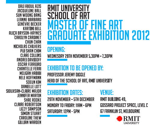 RMIT MASTER OF FINE ART GRADUATE EXHIBITION 2012 image