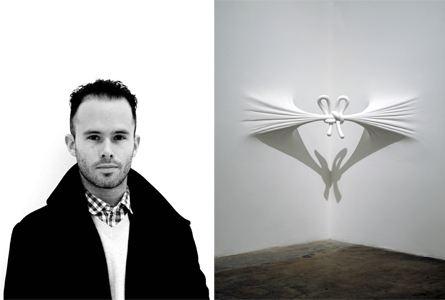 Left: Daniel Arsham. Photographer: Guillaume Ziccarelli Right: Corner Knot, 2008. Fiberglass, paint, joint compound. image