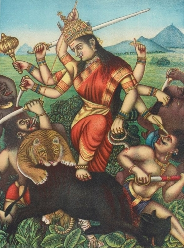Durga killing the buffalo demon image