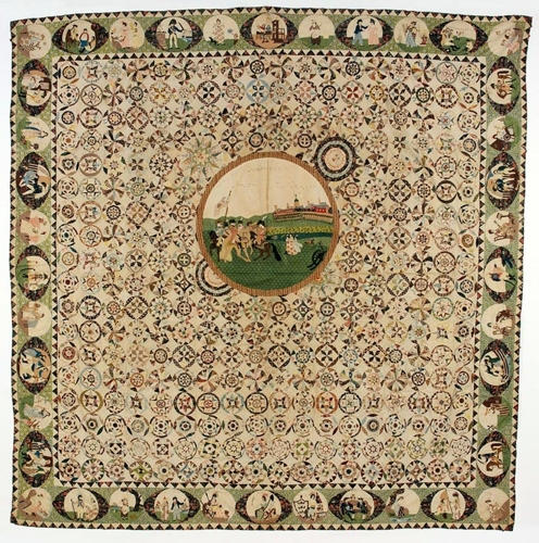 Central section from a printed cotton patchwork coverlet showing King George III reviewing the troops 1803-05 image