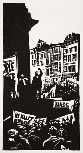 Image from War or Peace: Twelve linocuts Noel Counihan & Jack Lindsay, (Gryphon Books 1979).  image