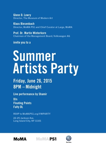 MoMA PS1 Summer Artists Party | June 26 8pm – Midnight image