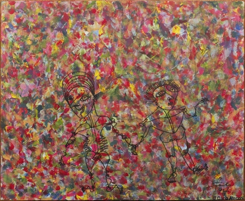 "Carlo Alacchi. Together We Tread. Acrylic and Ink on Canvas Board. 20""x32.5"" image"