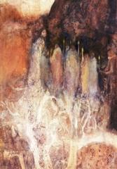 """Betty Neely. Vigil. Watercolor on Board. 31.5""""x28"""" image"""