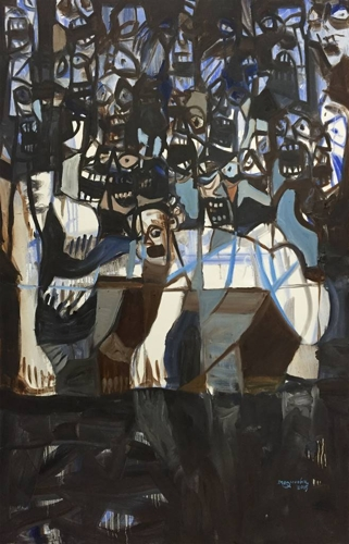 Nonye Ikegwuoha, M-Series Part 2, Oil on Canvas, 59 x 39.5 image