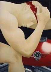 Paolo Canciani, Apollo Riding a Harley Davidson, Acrilic on Canvas, 28''x 20'' image