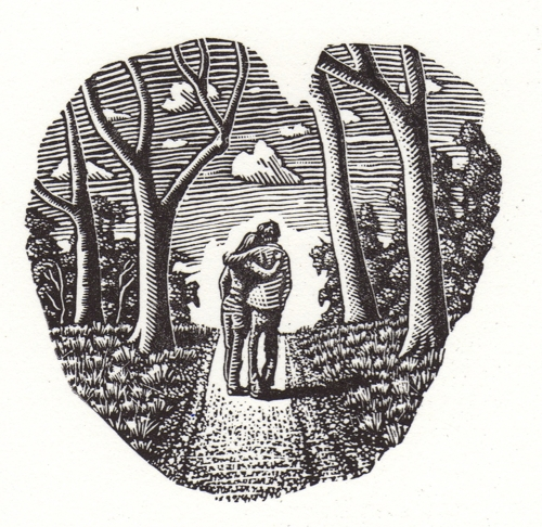 Friends and Lovers 2014. Wood engraving image