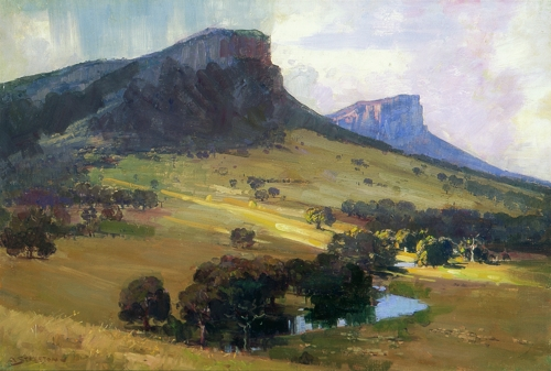 Arthur Streeton, Mt Sturgeon and Mt Abrupt, 1921, oil on canvas, 51.8 x 76.5cm, private collection, courtesy of Sotheby's Australia image
