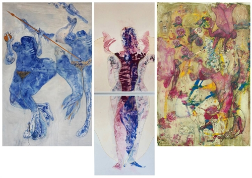 Volkmar Jesiek,Eva Verschmelzung Adam (triptych) Mixed Media on Canvas 104''x147'' image