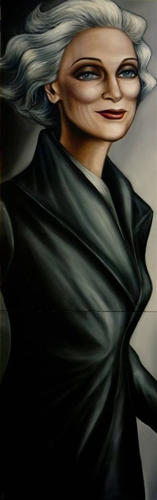 Alejandro (Alexati) Carrillo,Carmen in Black Oil on Canvas, diptych,63.5''x20'' image