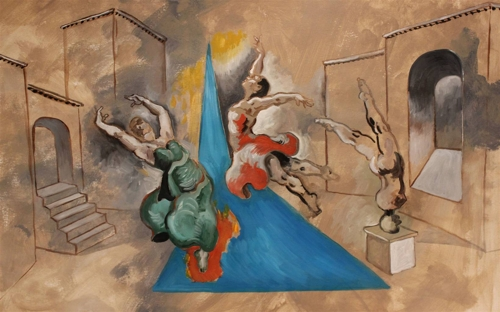 Michael Alberon,Dancers of the Triangle,Acrylic _ Oil on Paper,17.5''x26'' image