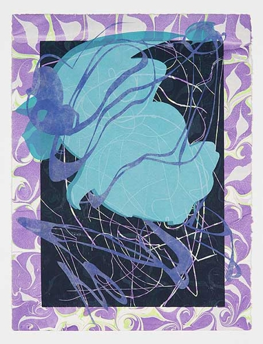 Dionisia Salas, 'luci' 2017, screenprint and woodblock chine-colle on marbled paper, 76 x 56cm, Frame size: 90 x 70cm  image