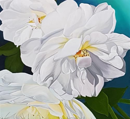 Billie Peka, 'White Roses – Flourish', 2018, acrylic on canvas image