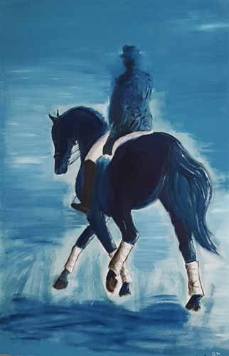 Anna Weichert, Rider in Blue,Oil on Canvas, 47.5'' x 31.5'' image