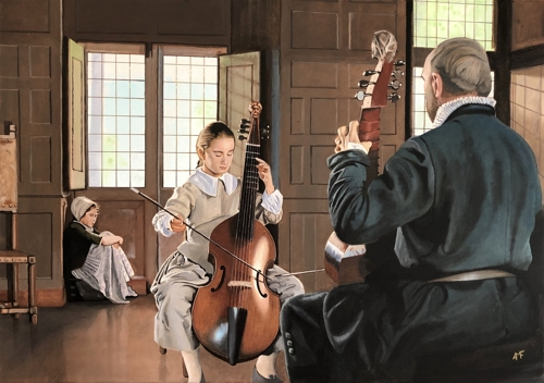 Arnaud Feuga, Lesson of Viola da Gamba, Oil on Linen, 26 x 36 image
