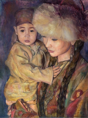 Aigerim Bektayeva, With My Son, Oil on Canvas, 35.5'' x 27'' image
