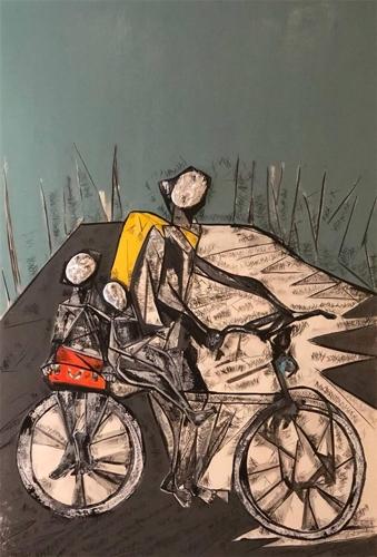 Sahar, Away from Home, Acrylic & Mixed Media on Canvas image