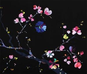 Cherry blossom, 2011, acrylic, gouache, pen and vinyl on canvas, image