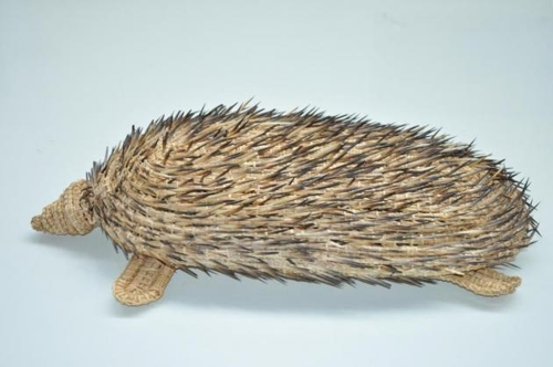 Yvonne Koolmatrie Echidna 2010 Sedge grass, river rushes, echidna quills 50 x 22 x 11cm Collection: Art Gallery of New South Wales image