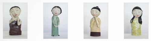 Dai Li, 'Under Current' 2016, stoneware, 27 x 13 x 11cm; 'Await' 2016, stoneware, 31 x 12 x 11cm; 'The Listener' 2016, stoneware, 32 x 12 x 12cm; 'Fixed' 2016, stoneware, 32 x 13 x 13cm image