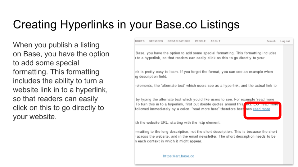 How to create hyperlinks in your Art Base listings on Art Base BASE