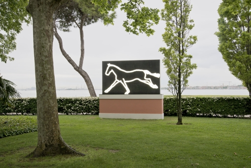13m-tall skyscrapers, swimming fish in the waterwall and horses galloping in the garden: Julian Opie unveils first major Australian exhibition image